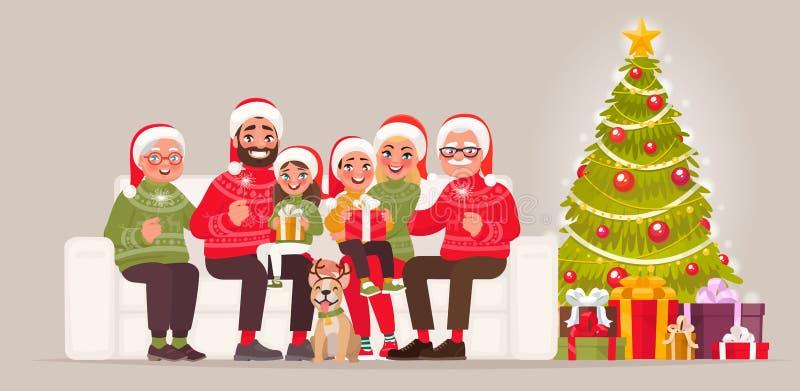 Frohe Weihnachten und guten Rutsch ins Neue Jahr Große Familie, die auf sitzt stock abbildung
