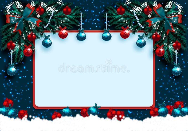 Frohe Weihnachten und guten Rutsch ins Neue Jahr Grußkarte mit Dekorationen auf dem blauen Weihnachtsbaum und dem Schnee Eckzeich lizenzfreie abbildung