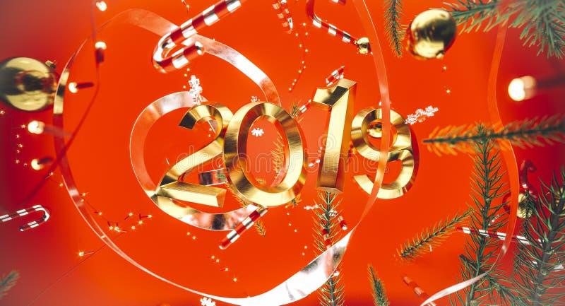 Frohe Weihnachten und guten Rutsch ins Neue Jahr Hintergrund mit Geschenkbox Abbildung 3D Weihnachtsdekorationselemente lizenzfreies stockbild