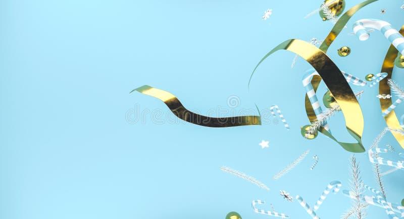 Frohe Weihnachten und guten Rutsch ins Neue Jahr Hintergrund mit Geschenkbox Abbildung 3D Weihnachtsdekorationselemente lizenzfreies stockfoto