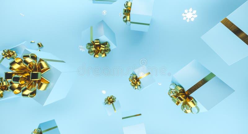 Frohe Weihnachten und guten Rutsch ins Neue Jahr Hintergrund mit Geschenkbox Abbildung 3D Weihnachtsdekorationselemente stockfotos