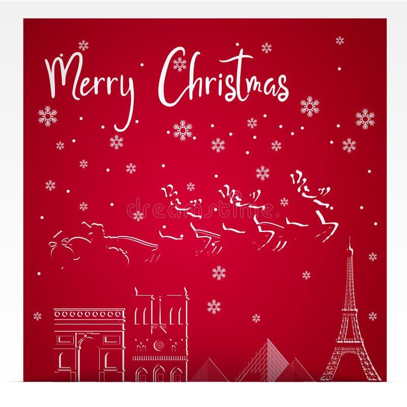 Frohe Weihnachten und guten Rutsch ins Neue Jahr Illustration von Santa Claus, von Rot und von Goldart vektor abbildung
