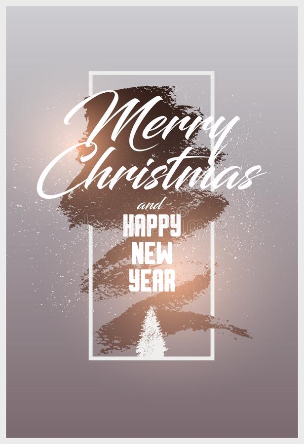 Frohe Weihnachten und guten Rutsch ins Neue Jahr Kalligraphisches Weihnachtsgruß-Kartendesign Typografisches Weinleseart-Schmutzp vektor abbildung