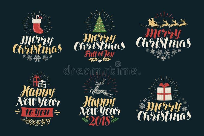 Frohe Weihnachten und guten Rutsch ins Neue Jahr, Kennsatzfamilie Weihnachtsikonen oder -logos Beschriftungs-Vektorillustration lizenzfreie abbildung