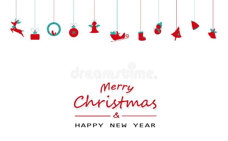 Frohe Weihnachten und guten Rutsch ins Neue Jahr, minimal, Weinlese, hängendes De stock abbildung