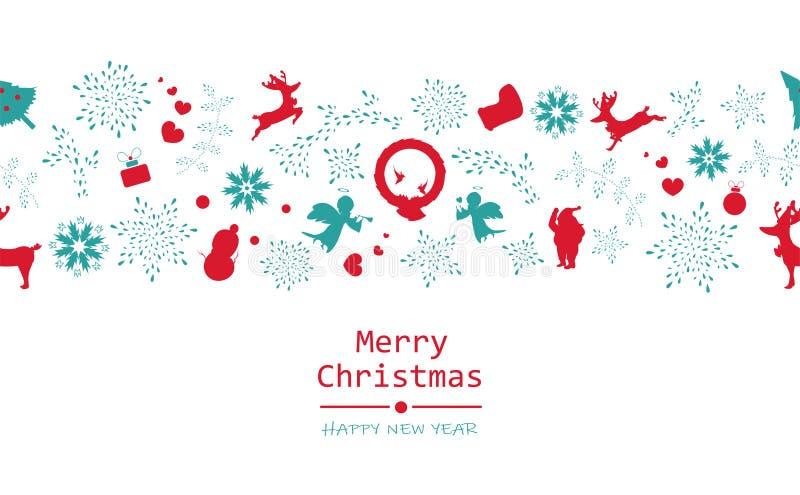 Frohe Weihnachten und guten Rutsch ins Neue Jahr, minimal, Weinlese, nahtloses p stock abbildung