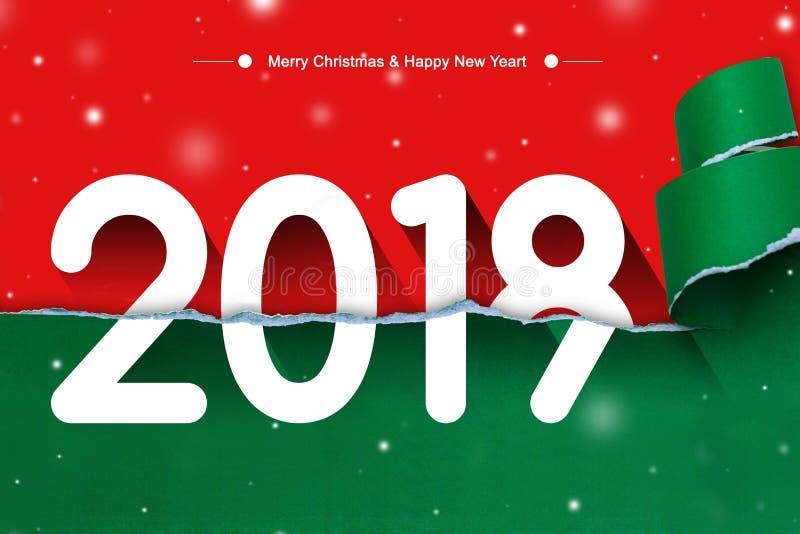 Frohe Weihnachten und guten Rutsch ins Neue Jahr mit 2018 auf heftigem rotem und grünem Papierhintergrund stock abbildung