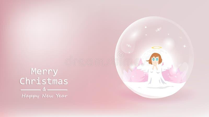 Frohe Weihnachten und guten Rutsch ins Neue Jahr, netter Engelssegen in der Kugel vektor abbildung