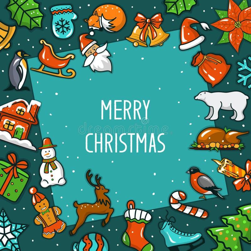 Frohe Weihnachten und guten Rutsch ins Neue Jahr, saisonal, Wintergruß-Rahmenkarte mit Dekorationsweihnachtsgegenständen stock abbildung
