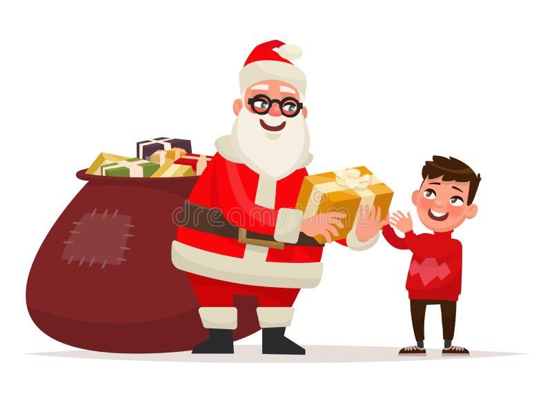 Frohe Weihnachten und guten Rutsch ins Neue Jahr Santa Claus gibt den Jungen a vektor abbildung