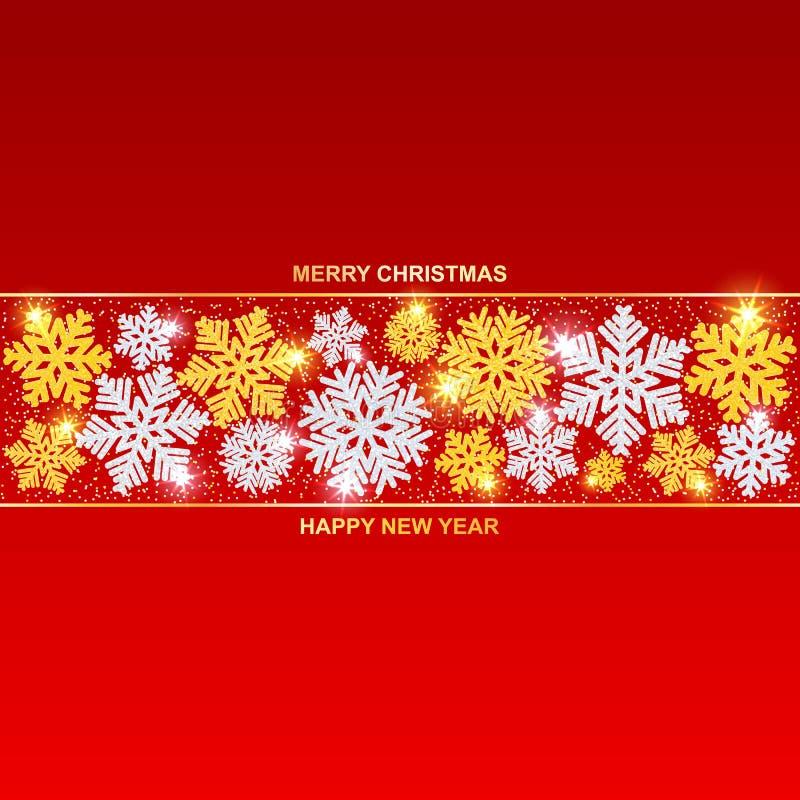Frohe Weihnachten und guten Rutsch ins Neue Jahr Schönes Gold und silberne Schneeflocken mit Funkeln und Schnee stock abbildung
