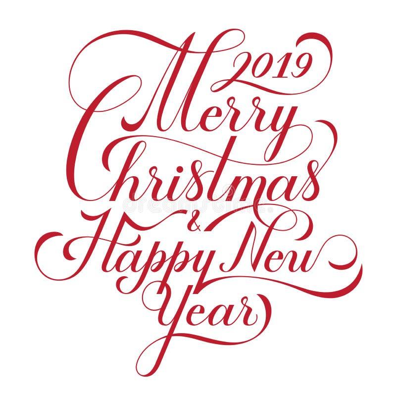 Frohe Weihnachten und guten Rutsch ins Neue Jahr text Kalligraphische Briefgestaltungs-Kartenschablone Kreative Typografie für Fe vektor abbildung