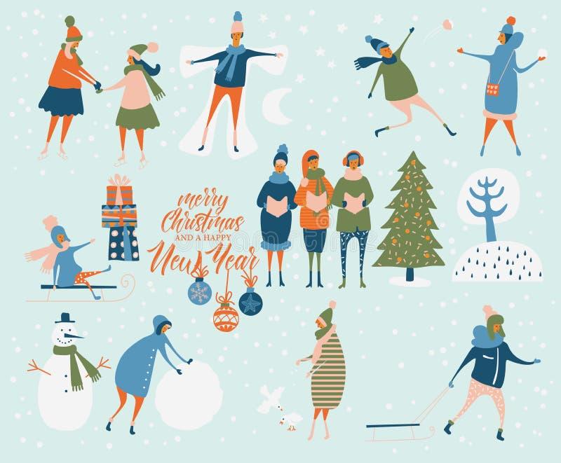 Frohe Weihnachten und guten Rutsch ins Neue Jahr vector Grußkarte mit Winterspielen und -leuten Feierschablone Eisiger Tag des Wi vektor abbildung