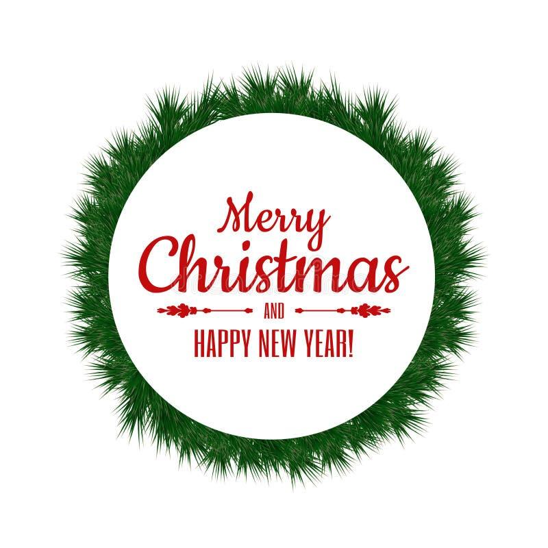 Frohe Weihnachten und guten Rutsch ins Neue Jahr Weihnachtskranz, -fahne oder -rahmen für Feiertagsdekoration mit Typografie stock abbildung