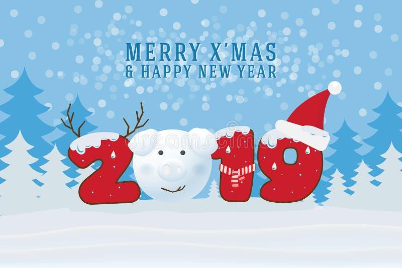 Frohe Weihnachten und guten Rutsch ins Neue Jahr 2019 Weihnachtsmann auf einem Schlitten lizenzfreie abbildung