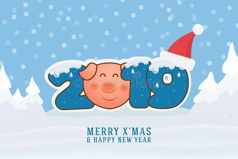 Frohe Weihnachten und guten Rutsch ins Neue Jahr 2019 Weihnachtsmann auf einem Schlitten vektor abbildung