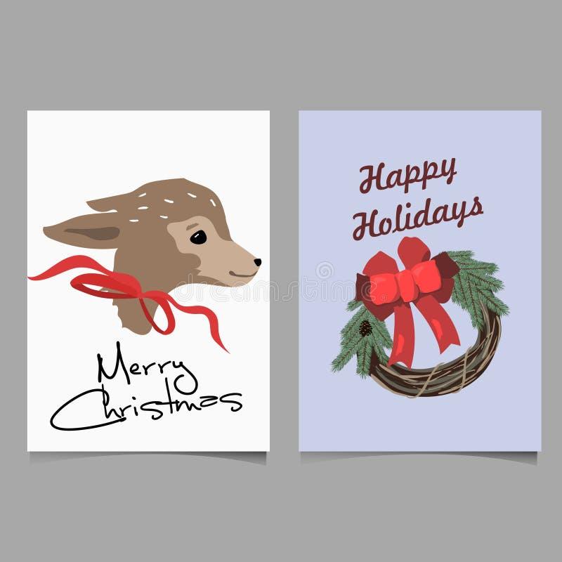 Frohe Weihnachten und guten Rutsch ins Neue Jahr winden Formgrußkartenhintergrund Datei des Vektors EPS10 organisiert in den Schi lizenzfreies stockfoto