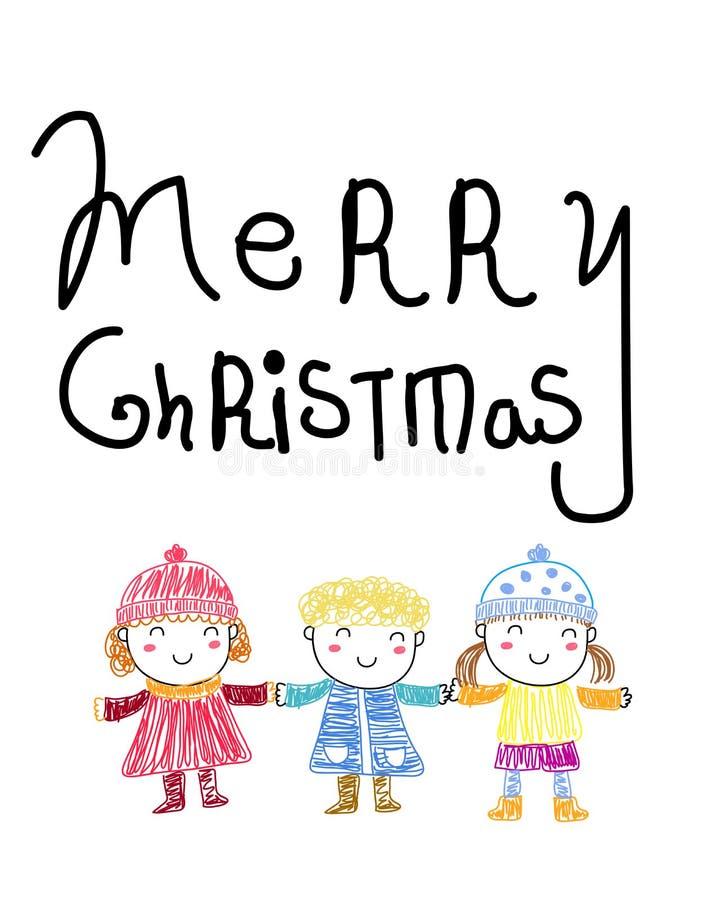 Frohe Weihnachten und Kinder lizenzfreie abbildung