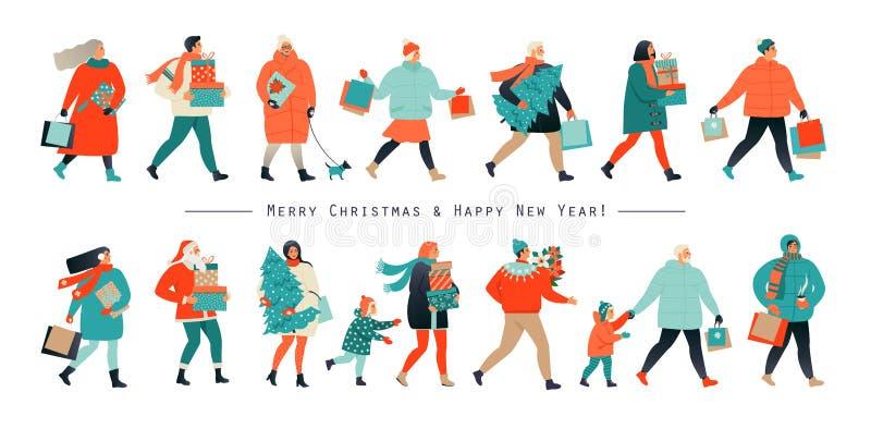 Frohe Weihnachten und neues Jahr Feiertagsfamiliensatz Eltern und Kinder verzieren den Weihnachtsbaum Auch im corel abgehobenen B vektor abbildung