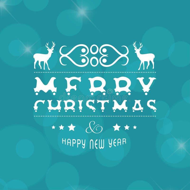 Frohe Weihnachten und newyear Karte mit dem Weihnachten lieb lizenzfreie abbildung
