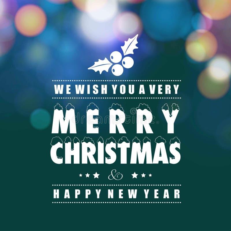 Frohe Weihnachten und newyear Karte mit dunkelgrünem Hintergrund lizenzfreie abbildung