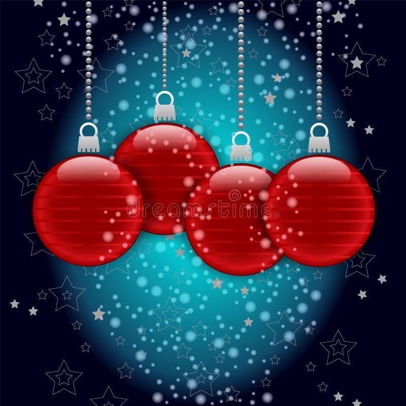 Frohe Weihnachten Vector Designhintergrund mit Bällen, Sternen und Schneeflocken lizenzfreie abbildung