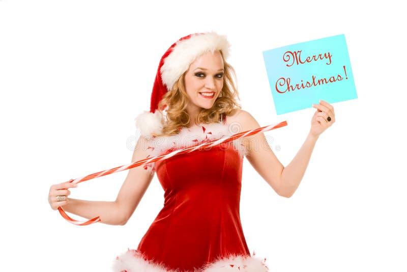 Frohe Weihnachten vom reizvollen Stift herauf Mrs Weihnachtsmann stockfotos