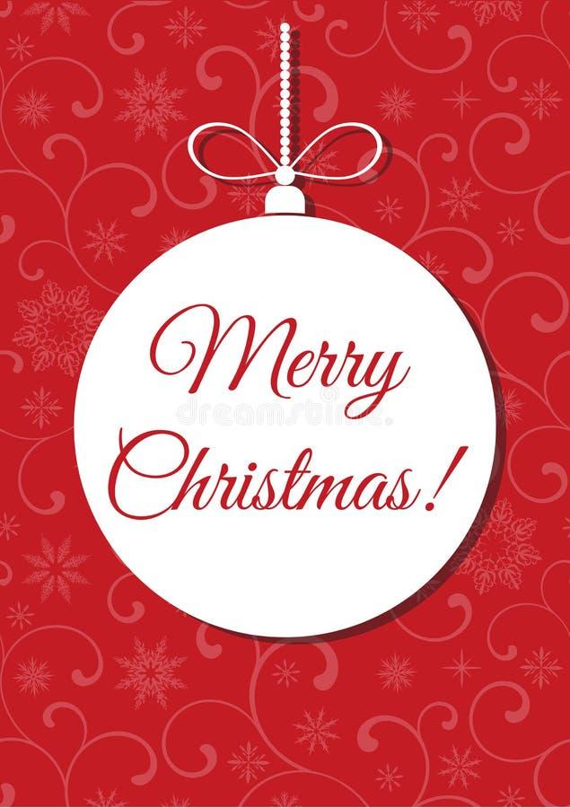 Frohe Weihnachten! Weihnachtsball auf einem roten Hintergrund mit Muster stock abbildung