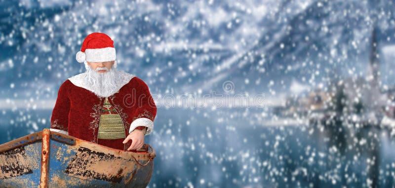 Frohe Weihnachten Weihnachtsmann in einem kleinen Schiff, das auf einen See in einer schneebedeckten kalten Winterlandschaftsland stockbilder