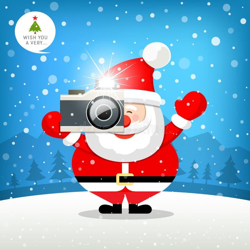 Frohe Weihnachten Weihnachtsmann-Hand, die Fotokamera hält stock abbildung