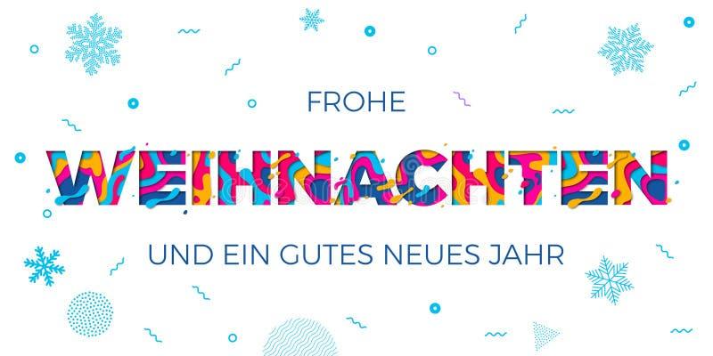 Frohe Weihnachten Wesoło bożych narodzeń kartka z pozdrowieniami Niemieckiego tła papercut koloru wektorowy cyzelowanie royalty ilustracja