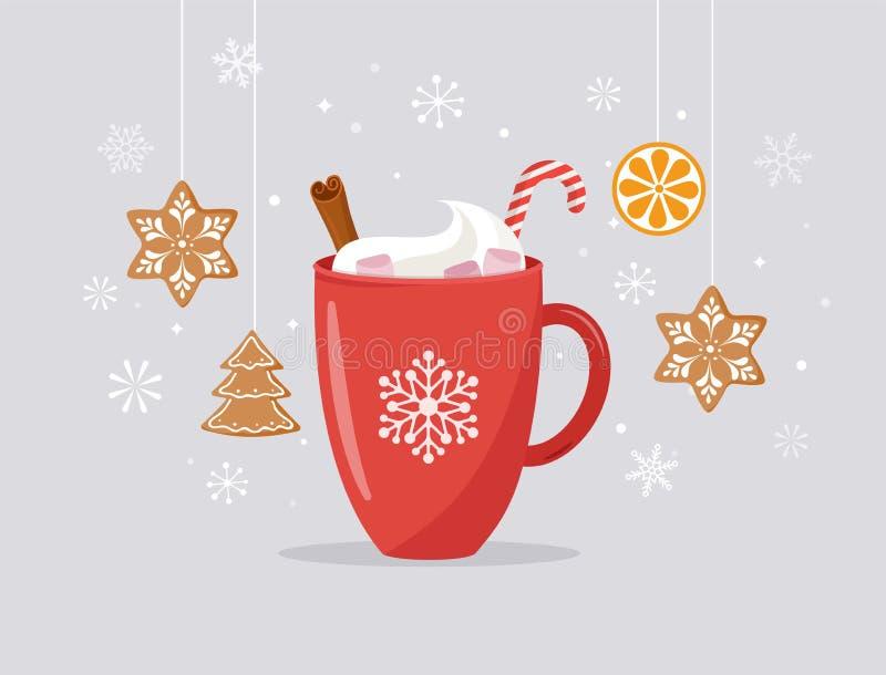 Frohe Weihnachten, Winterszene mit einem großen Kakaobecher und selbst gemachter Lebkuchen, Vektorkonzeptillustration stock abbildung