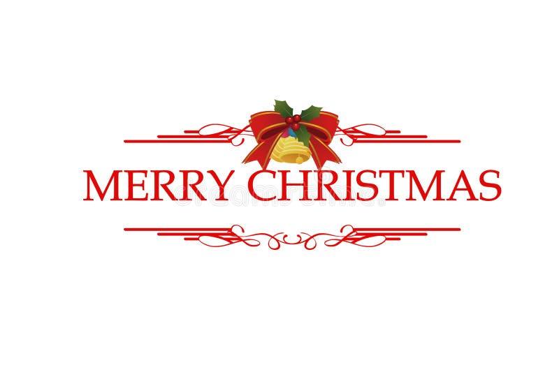 Frohe Weihnachts-Rot-Handschrift auf Winterferien-Design, kalligraphische Abbildung auf weißem Hintergrund stock abbildung