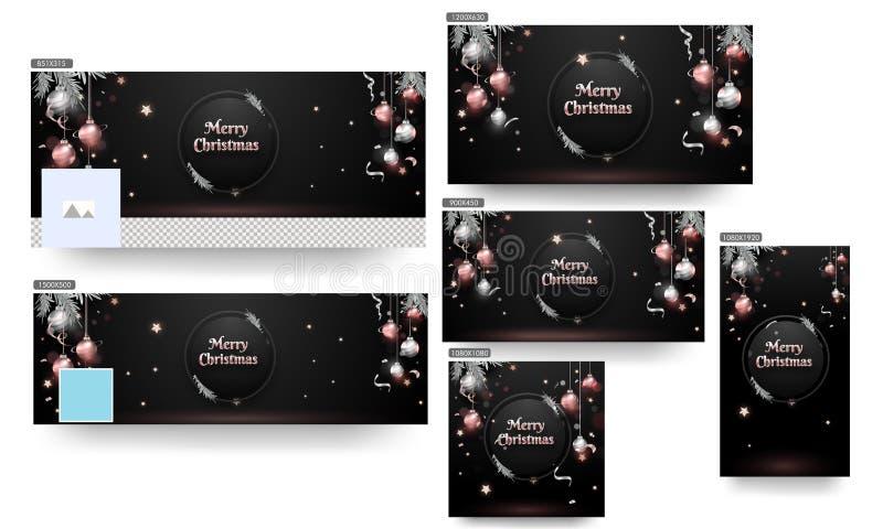 Frohe Weihnachtsheader oder Banner, Poster und Template Design mit Shiny Silver und Bronze Baubles, Stars und Kiefernblätter auf  stock abbildung