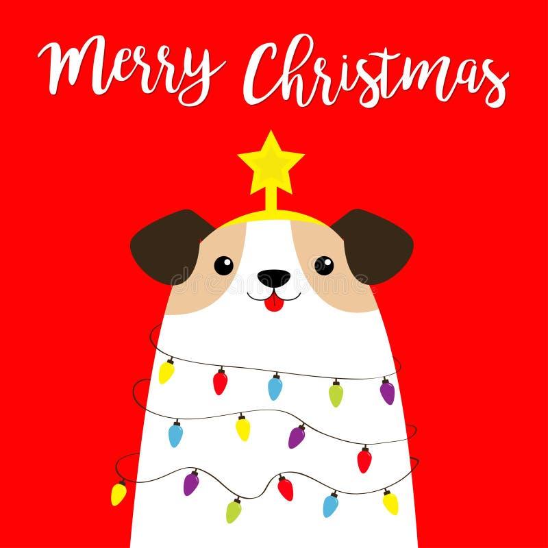 Frohe Weihnachtshundsbaumform Blumenzwiebelzwiebeln Sternspitze Puppenfibel Funny Kawaii animal Kids print Cute stock abbildung