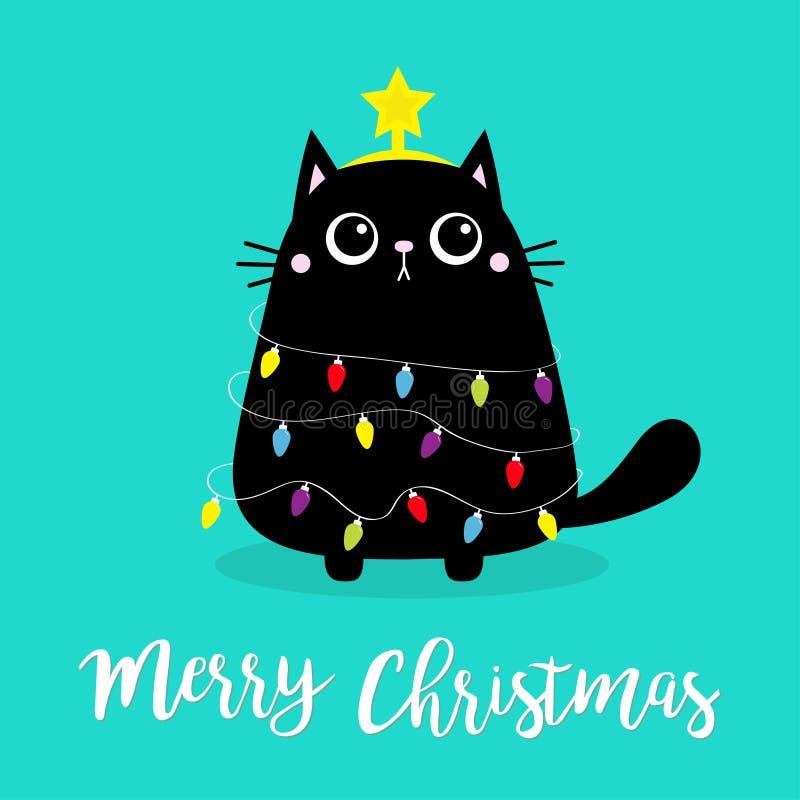 Frohe Weihnachtskatzenbaumform Glühbirnen-Saite Garland Star Kitty kitt sitzend Funny Kawaii animal Kids print Cute lizenzfreie abbildung
