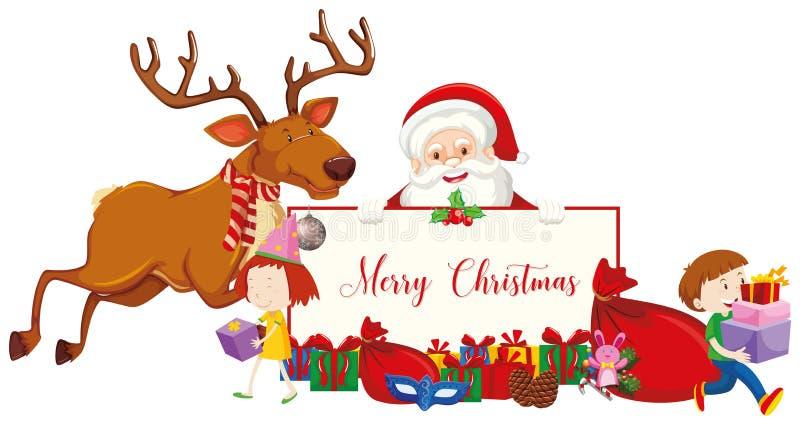 Frohe Weihnachtszeichen mit Weihnachtsmann und Rentieren lizenzfreie abbildung