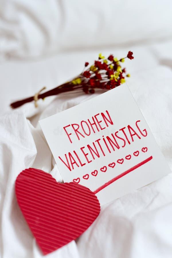 Frohen Valentinstag, Szczęśliwy Valentines Dzień W Niemiec Zdjęcie ...