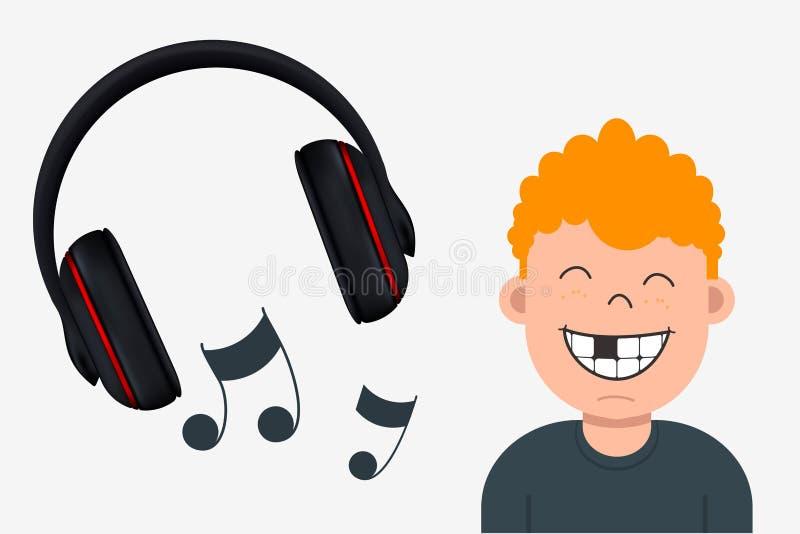 Froher Junge mit dem fehlenden Zahn hörend Musik Kopfhörer und stock abbildung