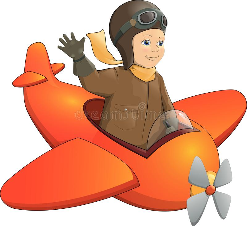 Froher lächelnder Junge, der ein Spielzeugflugzeug fliegt lizenzfreie abbildung