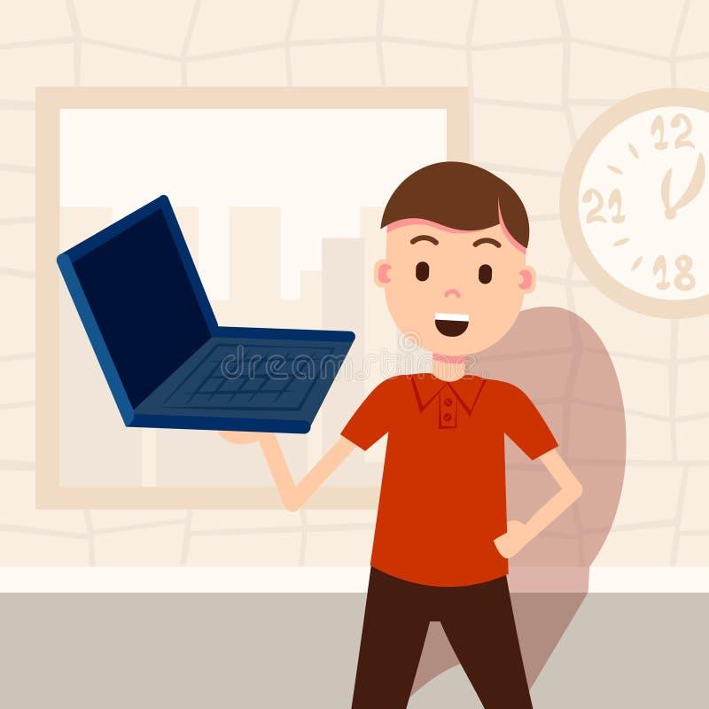 Froher Mann, der Schablone der Laptopmännlichen rolle für das Planungsarbeit- und Animationsporträt flach hält vektor abbildung