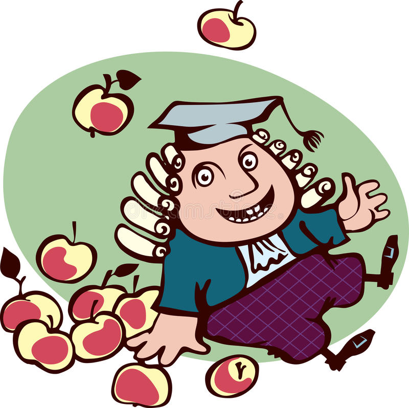 Frohes Isaac Newton-Sitzen umgeben durch Äpfel. lizenzfreie abbildung