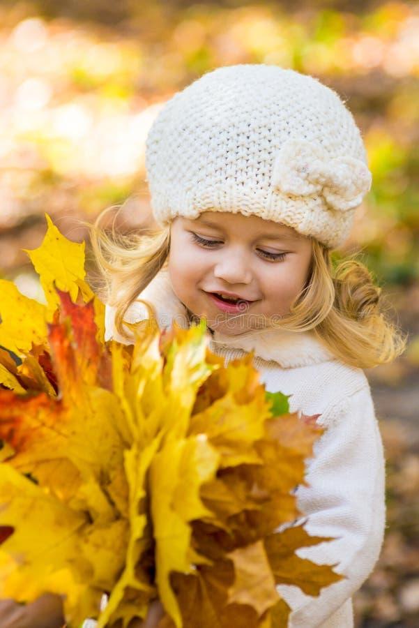 Frohes kleines Mädchen im Park im Herbst mit Blättern in ihren Händen stockfotos