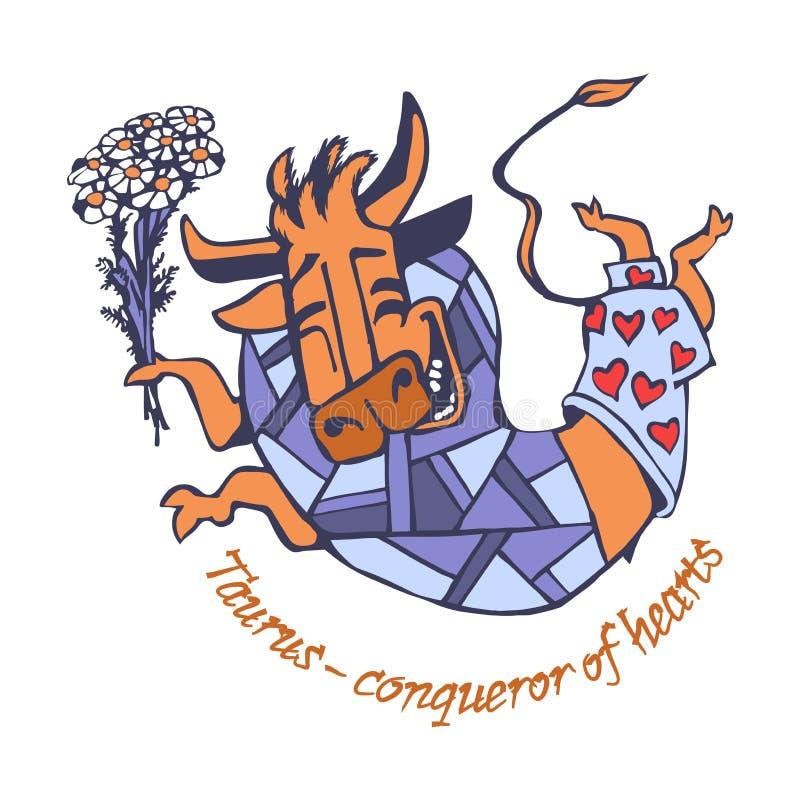 Frohes Lächeln Taurus Conquering Heartss glücklich machte einen Sprung mit einem Blumenstrauß von Blumen der Kamille lizenzfreie stockfotos