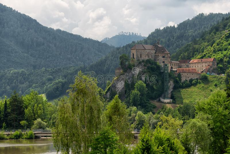 Landscape view of castle Burg Rabenstein over the Mur river valley, Styria, Austria royalty free stock image