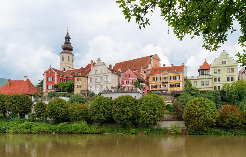Frohnleiten. The old town and the river Mur, Austria. Panoramic view of Frohnleiten on a stormy day. It is a town in the district of Graz-Umgebung in the stock photos