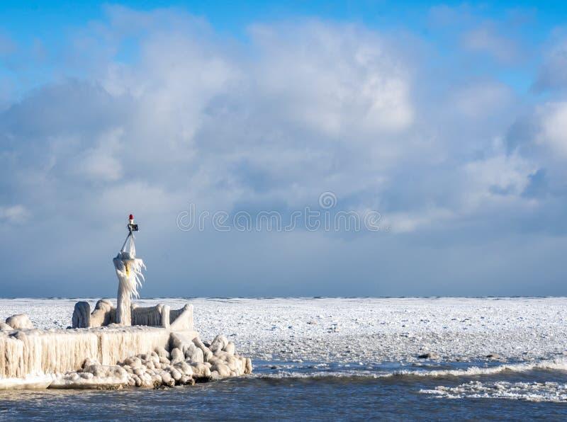 Froid extrême et glace sur le lac Michigan en hiver image stock