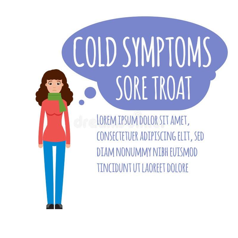 Froid, grippe, grippe ou symptôme commun saisonnier de grippe infographic illustration libre de droits