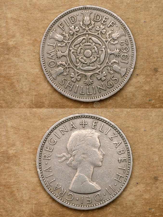 Free From Series: Coins Of World. England. TWO SHILLINGS. Royalty Free Stock Photography - 1608777