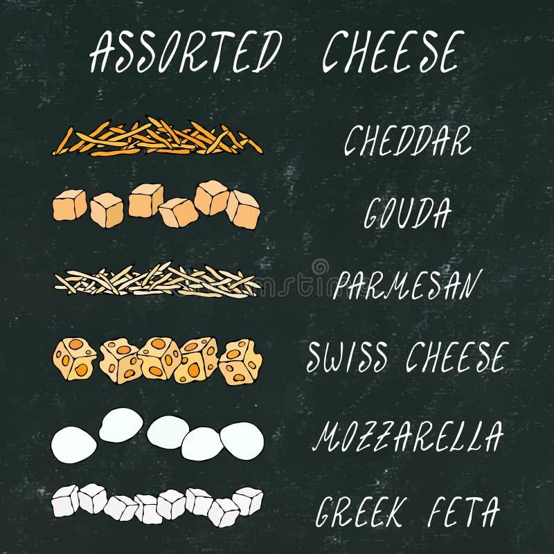 Fromage assorti Chedder râpé, parmesan, le Gouda, Suisse, cubes en feta, Mini Mozzarella Ingrédients de pizza C de haute qualité  illustration libre de droits